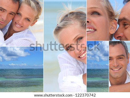 Montage of a couple by the sea - stock photo