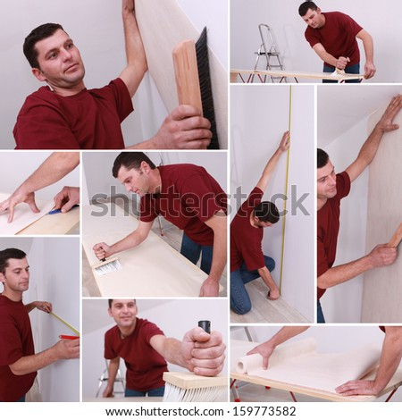 Montage of a man wallpapering - stock photo