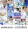 Montage of a medical or scientific research team men and women using microscopes and looking at test tubes in a laboratory - stock photo