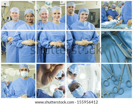 Montage of a medical team of interracial doctors men and women surgeons in a hospital operating theater wearing scrubs and surgical gloves looking happy and successful - stock photo