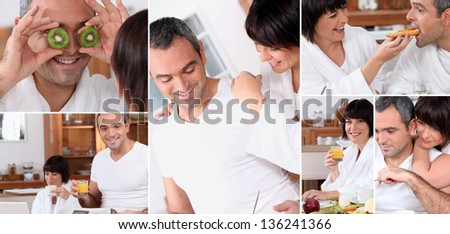 Montage of a romantic couple at breakfast - stock photo