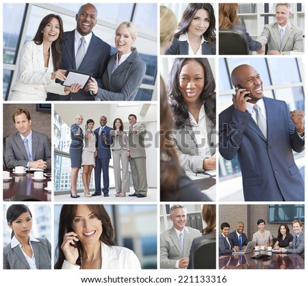 Montage of a successful team of interracial business men & women businessmen, businesswomen on cell phone, using laptop and tablet computers, in meetings making deals. - stock photo