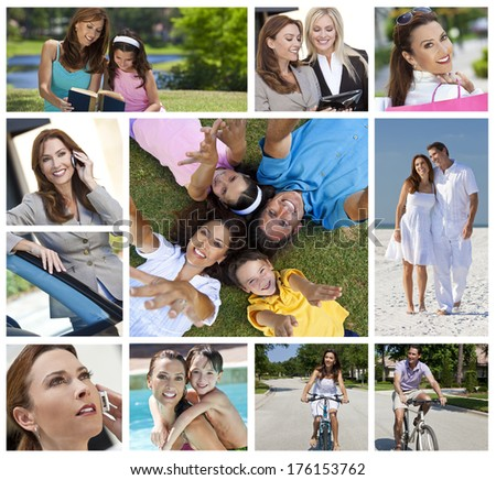 Montage of a successful working woman, mother and wife balancing modern working & family life, on cell phone, using tablet computer, at beach, swimming pool & reading with her daughter - stock photo