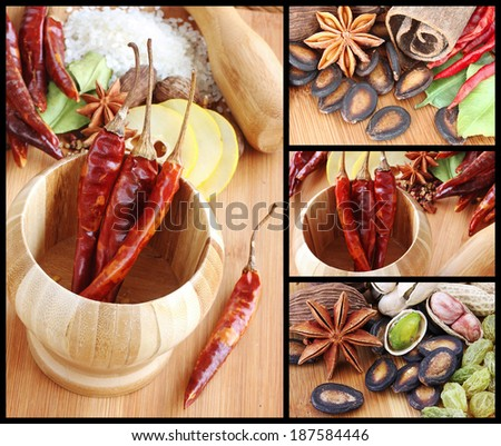 Montage of Assorted Spices used in Asian Cooking - stock photo