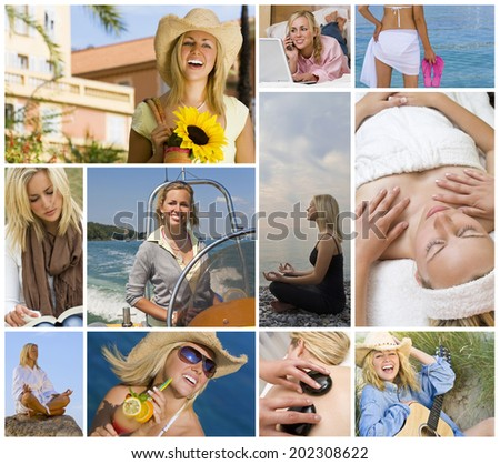 Montage of beautiful female girl young woman enjoying a healthy active lifestyle, shopping, relaxing using laptop computer, on holiday vacation enjoying yoga, boat trip, spa treatments - stock photo