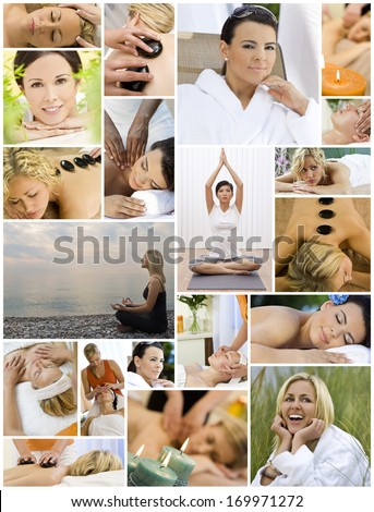 Montage of beautiful interracial women, woman relaxing at a health spa, enjoying head and back massages, hot stone treatments and practicing yoga on the beach and in a gym. - stock photo