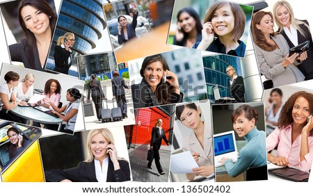 Montage of beautiful successful businesswomen or woman working in the city in business meetings using cell phones, tablet computers & laptop computers. - stock photo