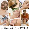 Montage of beautiful women relaxing at a health and beauty spa having massage treatments and their makeup applied by a beautician - stock photo