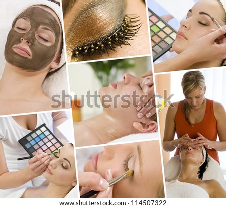 Montage of beautiful women relaxing at a health and beauty spa having massage treatments and their makeup applied by a beautician
