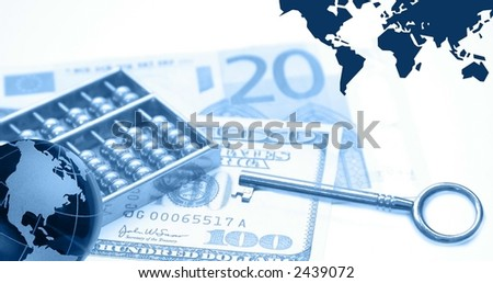 Montage of financial theme, blue Note for reviewer: I am owner of photos used in the montage - stock photo
