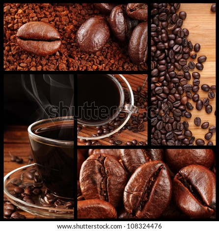 Montage of Fresh Roasted Coffee Beans and Freshly Brewed Coffee - stock photo