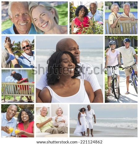 Montage of happy interracial old senior man woman couples enjoying an active retirement lifestyle walking on the beach, gardening, playing golf and cycling.