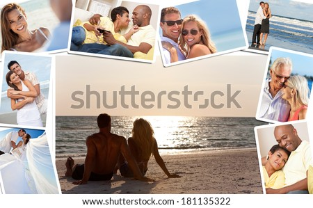 Montage of happy, romantic, mixed race couples enjoying a relaxing lifestyle, sunset beach, wedding, drinking wine at home in love.