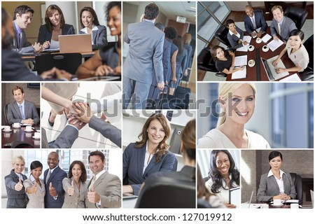 Montage of happy successful men & women, businessmen & businesswomen team colleagues in meeting, offices, using laptop or tablet computers, business travelling, working on the phone and thumbs up - stock photo