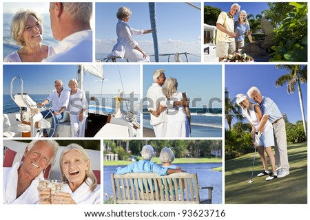 Montage of healthy lifestyle senior retired people and couples sailing, drinking, eating & playing golf - stock photo