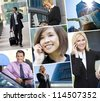 Montage of Interracial business group men & women, businessmen and businesswomen team outdoors using cell phones, laptop and tablet computers - stock photo