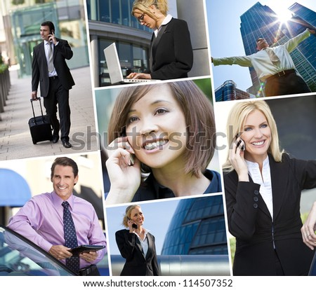 Montage of Interracial business group men & women, businessmen and businesswomen team outdoors using cell phones, laptop and tablet computers