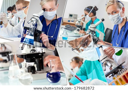 Montage of interracial medical people, men, women, doctors, nurses, research team in hospital laboratory analyzing samples and solutions - stock photo