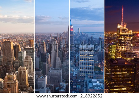 Montage of Manhattan skyline night to day - New york - USA - stock photo
