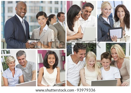 Montage of men, women,children, families businessmen and businesswomen all using modern computer technology and communications equipment