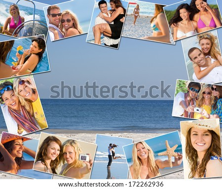 Montage of mixed race friends and couples men women enjoying a healthy active lifestyle on holiday vacation, at the beach playing games, taking pictures together, drinking cocktails & on a speed boat