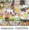 Montage of multicultural people, couple and families, father, mother, son and daughter children eating healthy foods, salads, fruit, ham, cheese, cake, sandwiches, dining  inside and outside in summer - stock photo
