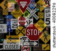 Montage of Numerous Traffic Control Lights, Signs and Signals - stock photo