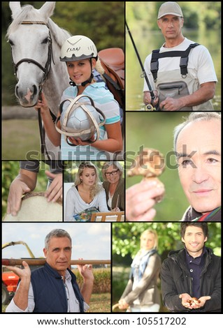 Montage of outdoor leisure activities - stock photo