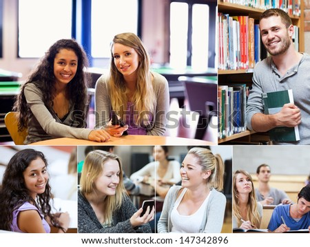 Montage of various pictures showing cheerful students in a library - stock photo