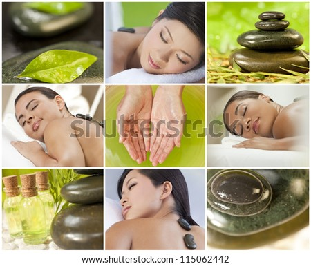 Montage of young beautiful women relaxing at a health spa having treatments, hot stones, oils and massages - stock photo