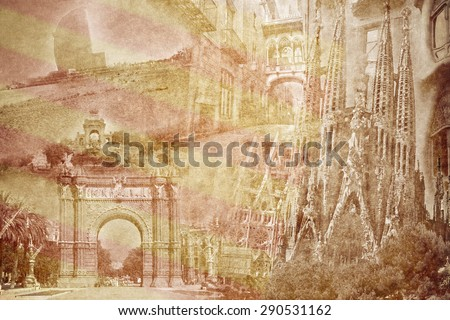 montage photo of Barcelona on vintage paper - stock photo