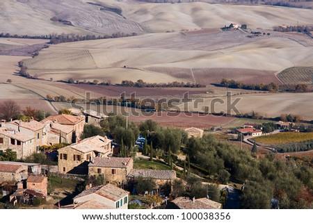 Montalcino in Tuscany. - stock photo