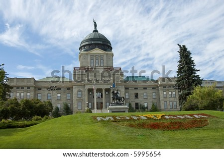 Montana Capitol building in Helena with beautiful big blue sky. - stock photo