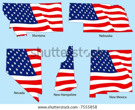 Montana, Nebraska, Nevada, New Hampshire and New Mexico outlines with flags