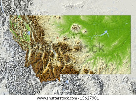 Montana. Shaded relief map, with major urban areas and rivers, surrounding territory greyed out. Colored according to elevation. Clipping path for the state area included. Data source: NASA - stock photo