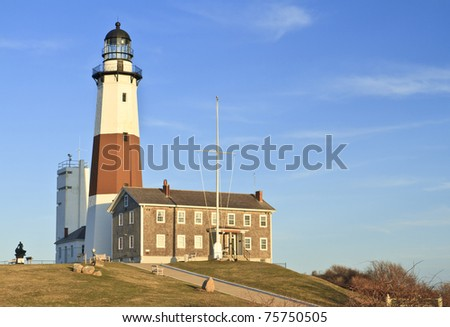 Montauk Lighthouse on a clear April day at the Eastern tip of Long Island, NY - stock photo