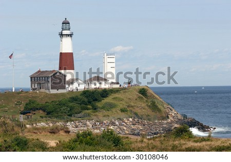 Montauk Point Lighthouse, the oldest lighthouse in New York State - stock photo