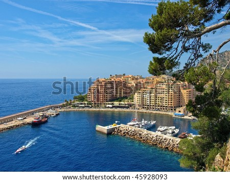 Monte Carlo Marina from Above. Fontvieille, new district of Monaco. - stock photo