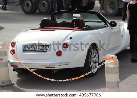 Monte-Carlo, Monaco - April 6, 2016: White Mitsuoka Roadster (rear view) Parked in Front of the Monte-Carlo Casino in Monaco - stock photo