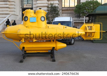 MONTE CARLO, MONACO - JANUARY 18:  Yellow submarine in Monte Carlo on JANUARY 18, 2012. Anorep watercraft of explorer Jacques Cousteau at Oceanographic Museum in Monte Carlo, Monaco. - stock photo
