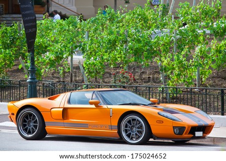 MONTE CARLO, MONACO - JULY 13, 2013: Ford GTX1 luxury car in Monte Carlo. It is a racing version of Ford GT - american mid-engine two-seater sports car. - stock photo