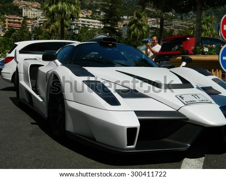"MONTE CARLO, MONACO - 27 JULY 2015 - The exotic and unique car , Gemballa MIG-U1 is based on the Ferrari Enzo, for Mustafa and Ilyas Galadari, initials form the Name ""MIG"" 27 July 2015 in Monte Carlo."