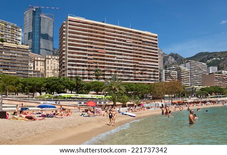 MONTE CARLO, MONACO - JUNE 1, 2014: Architecture of residential buildings from the city beach.