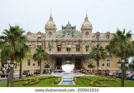 MONTE CARLO, MONACO - JUNE 10,2010: Front of the Grand Casino in Monte Carlo, Monaco. The Casino is one of the most notable buildings in Principality. - stock photo