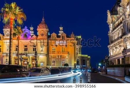 Monte Carlo, Monaco - June 20, 2015: Street view at Monte Carlo Casino in the evening. - stock photo