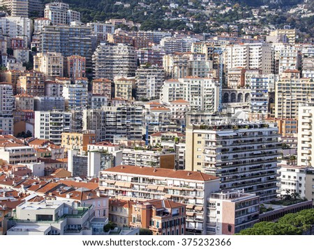 MONTE-CARLO, MONACO, on JANUARY 10, 2016. A view of houses on a slope of the mountain