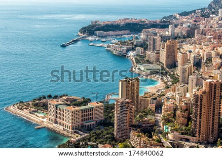 Monte Carlo top View with blue sky and water - stock photo