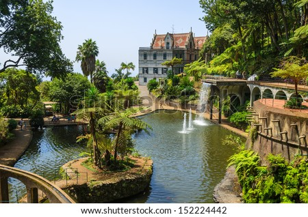 Monte Tropical Gardens with view of palace on lake, Funchal, Madeira island, Portugal - stock photo