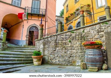 Montefiascone village steps alley - Lazio region - Viterbo province -  Italy - stock photo