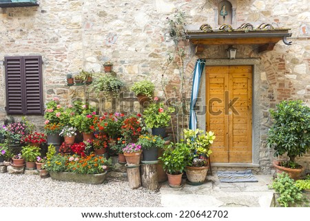 Montefioralle (Greve in Chianti, Florence, Tuscany, Italy): medieval village - stock photo